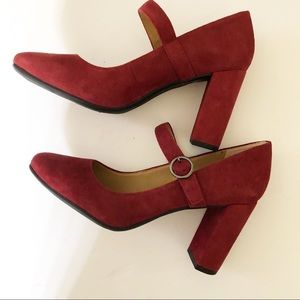 Franco Sarto Suede Mary Jane Shoes